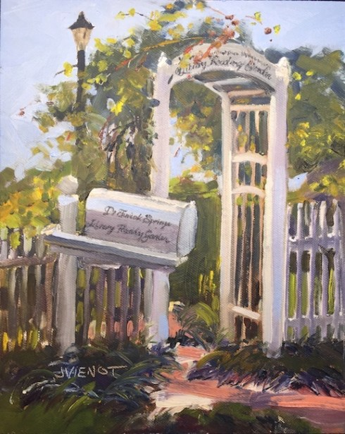 Oil painting of the entrance arbor at the DeFuniak Springs Library Reading Garden, DeFuniak Springs, Florida