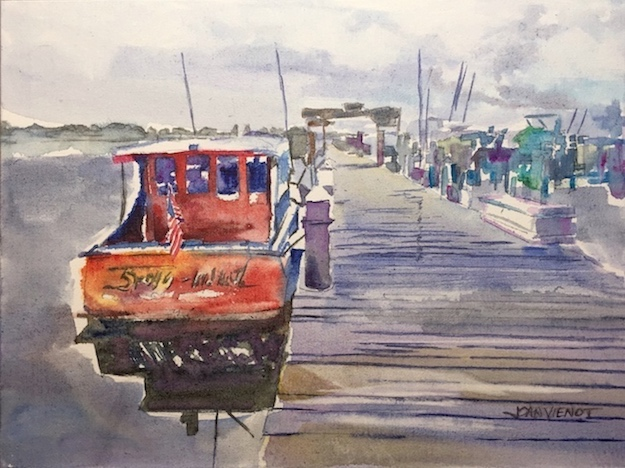 Watercolor painting of a red boat at the Baytowne Marina