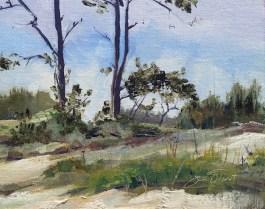 Oil painting on Okaloosa Island, bayside, Gulf Islands National Seashore
