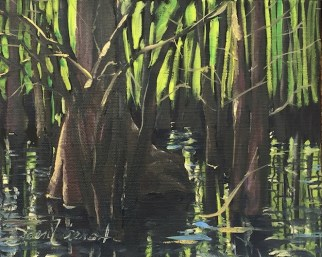 Oil painting of the light through the cypress trunks at Morrison Springs, Ponce de Leon, FL