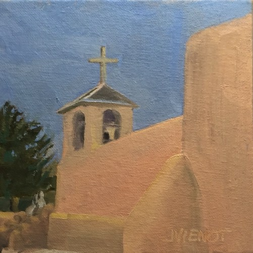 Oil painting of the side of San Francisco de Asis Mission, Taos, NM