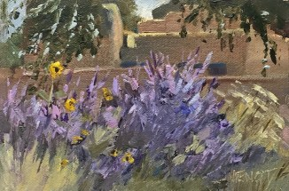 Oil painting of sage in bloom in Taos, NM