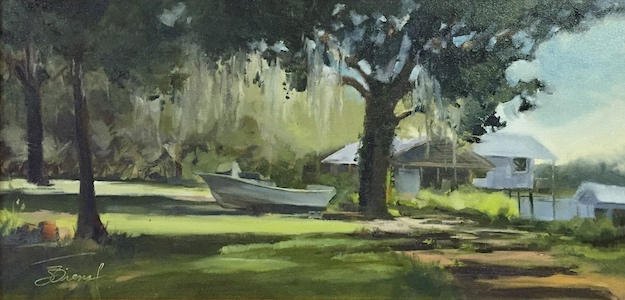 Oil painting of a boat in a grassy yard with the play of light under oak trees on the waterfront of a bay