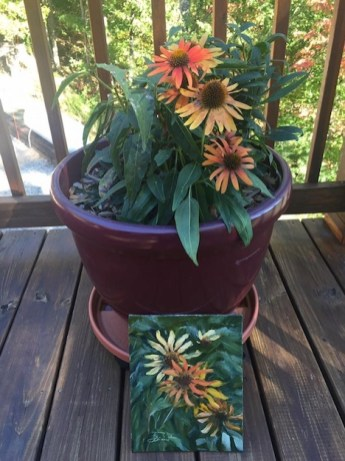 Oil painting of cone flowers on the porch, Murphy, North Carolina