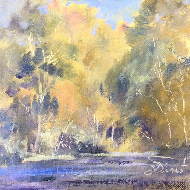 Oil painting of the autumn gold trees lining the Nantahala River, in North Carolina