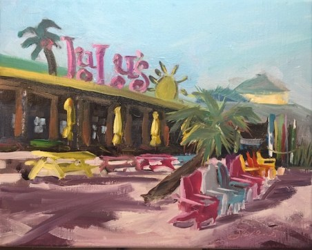 Oil painting of Lulu's Restaurant bayside, in Destin, FL, painted en plein air