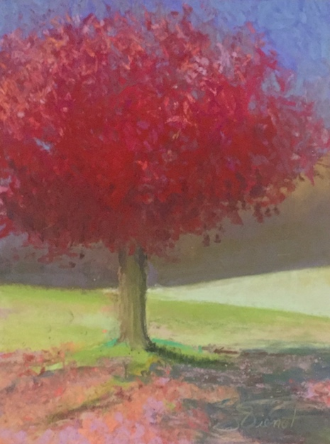 Soft pastel painting of a red tree with pink leaves underneath, an impression of a scene in Murphy, NC