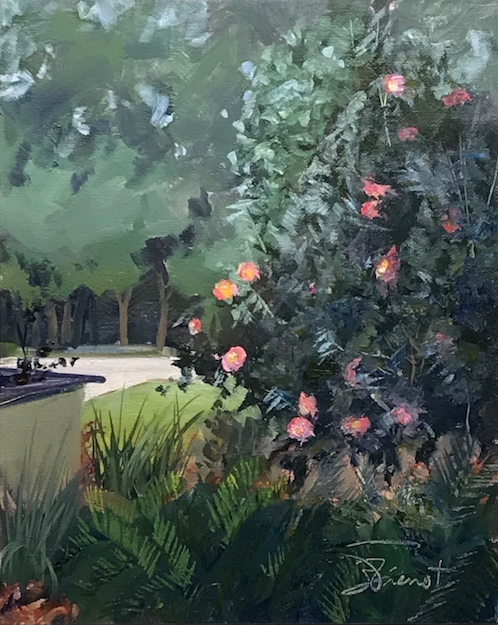 Oil painting of the camellias and grounds at the City of Destin Public Library, Destin, FL, painted en plain air