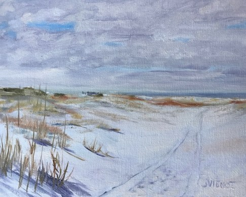 Oil painting of the vehicle trail through the dunes at Camp Helen State Park, Panama City Beach, FL