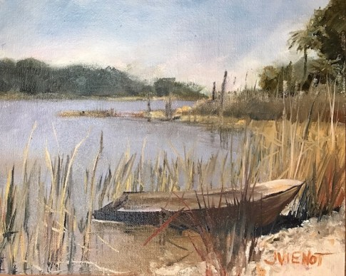 Oil painting of the old sunken fishing boat on Two Mile Channel, Apalachicola, FL