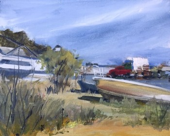 Oil painting of a working dock at Eastpoint, FL