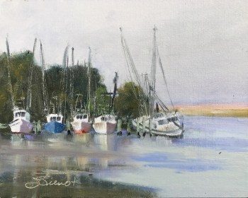Oil painting of the docked boats in the marina at Scipio Creek