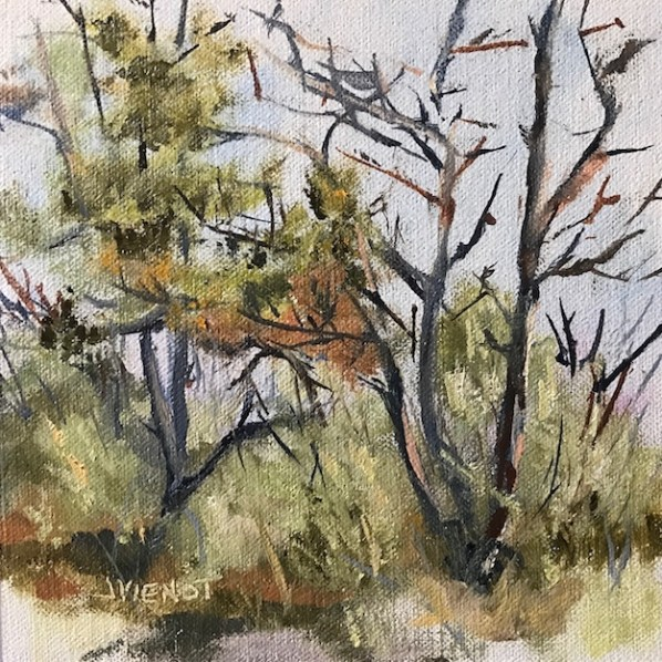Oil painting of the cedar trees near the dock at Nick's Hole Apalachicola National Estuarine Research Reserve