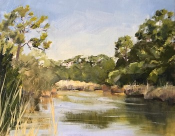 Oil painting o the Egrets' Pond on Leisure Lane, St. George Plantation, St. George Island, FL