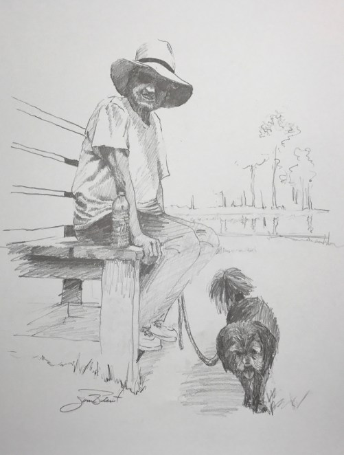 A drawing of Katie seated on the front bench at Eden Gardens State Park with her dog Marley