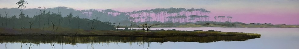 "Oil painting of the ""umbrella trees"" at Western Lake in Grayton Beach, FL, at dawn, a commissioned work 8""x48"""