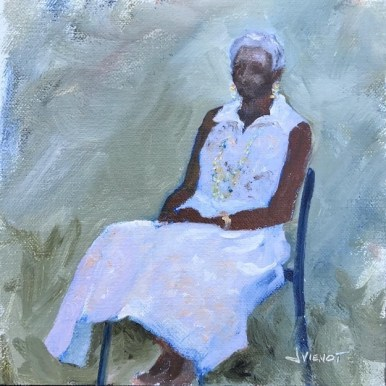 Oil painting of older woman in sunday finery, painted en plein air at Plein Air South
