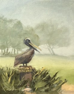 Painting of the pelican statue at Ft. Walton Landing, used to demonstrate effective shape-making and atmospheric perspective