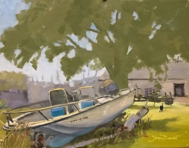 Oil painting of a cat walking towards the viewer, with a Wahoo boat on a broken trailer in the foreground