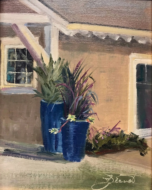 Oil painting of the potted plants outside the sales office at Watersound Origins, Panama city Beach, FL