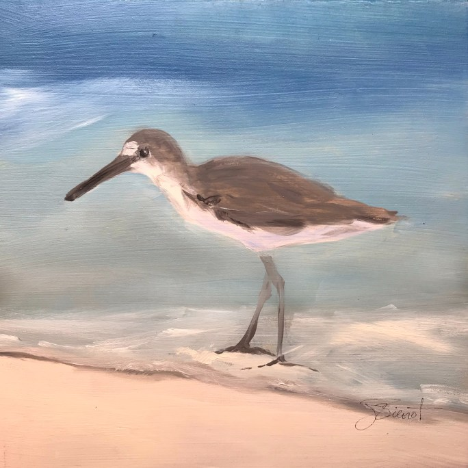 Oil painting of a sandpiper at water's edge