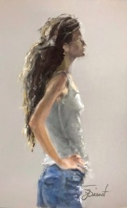 Oil painting of thin young woman with dreads, in casual clothes