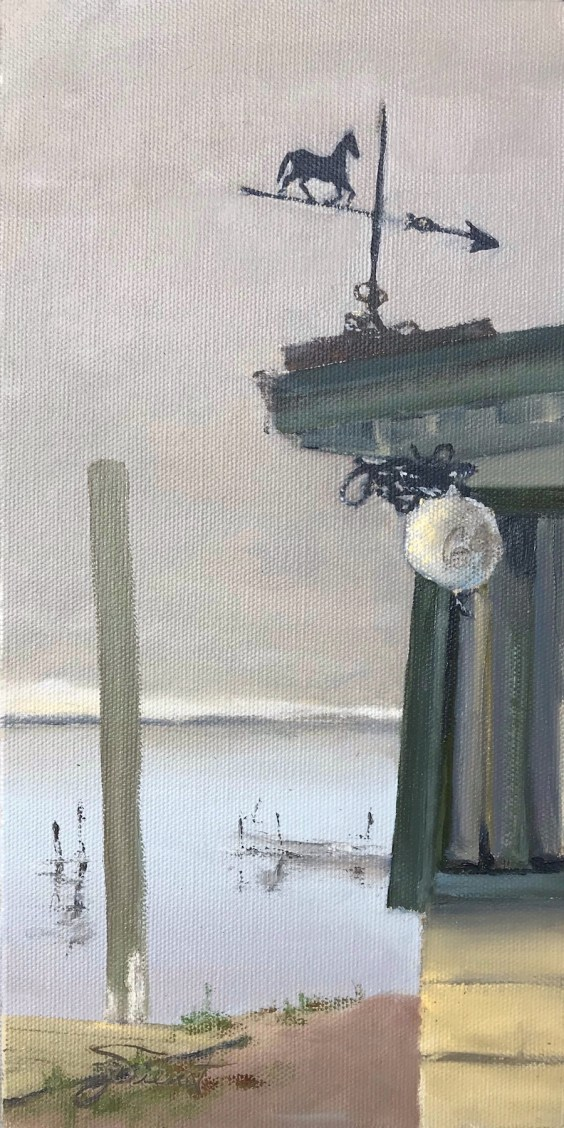 Oil painting of the corner of a building, with a crab trap buoy numbered G9, and horse weathervane mounted