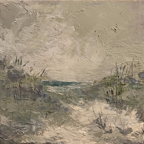 Palette knife oil painting of the dunes and Gulf of Mexico on a stormy day