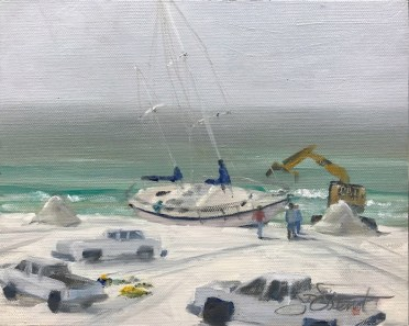 Oil painting of the Phantom of the Aqua being dug out of Miramar Beach where it drifted ashore after it was damaged by Hurricane Nate and its captain, without options, was rescued from it, far offshore