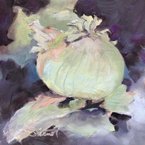 Oil painting of a single yellow onion, with dry skin peeling off