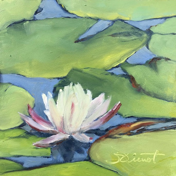 Oil painting of lily pads and a single water lily blossom, up close
