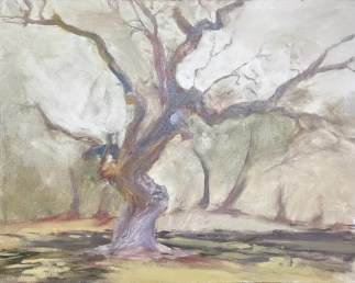 Oil painting of an ancient live oak tree on Jekyll island, GA