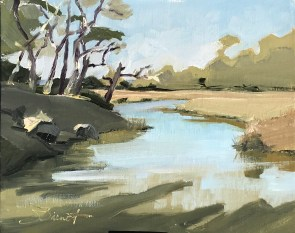 Study of the afternoon light on the marsh at the north end of Jekyll Island, GA, painted in Jason Sacran workshop