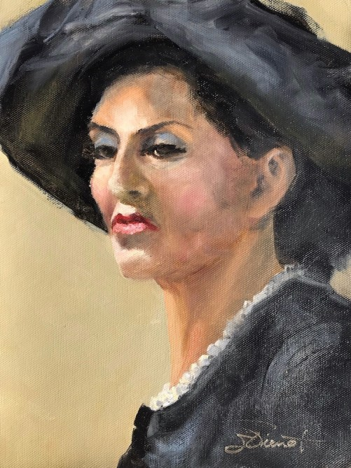 An oil painting of Norah in pearls and a big hat, painted from life