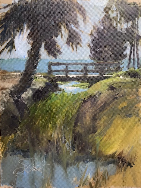 Oil painting of the light on the creek at George Core Park, Miss Zola Drive, Port St. Joe, FL