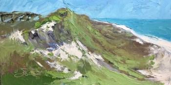 Oil painting of the shape of the primary dune on Cape San Blas, Port St. Joe, FL, painted with palette knife