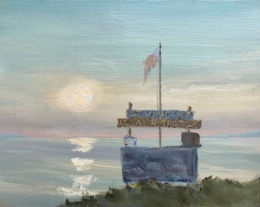 Oil painting of the early light at the St. Vincent Shuttle stop, off the tip of Indian Pass, Port St. Joe, FL