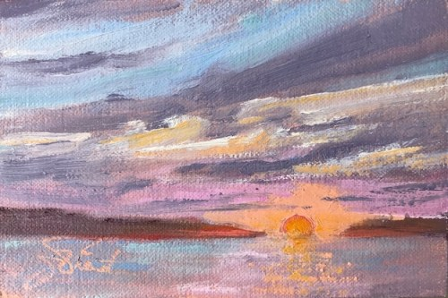 Oil painting of the artist's impression of the colorful sunrise at the tip of Indian Pass, Port St. Joe, FL
