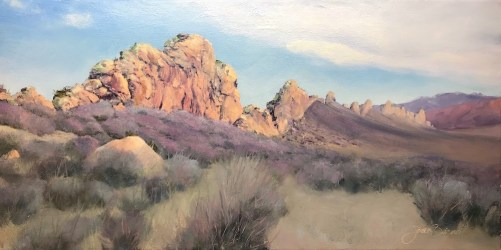 Oil painting of first light on Devil's Backbone, Laramie County, Loveland, Colorado