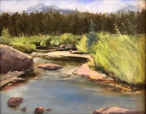Oil painting of the Big Thompson River flowing through Moraine Park above Estes Park, Colorado