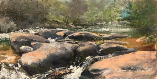 Oil painting of Stanley Rapids on the Taccoa River in Fannin County, Georgia