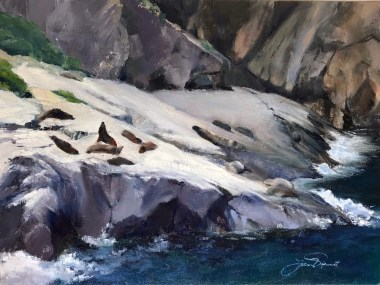 Oil painting of seals sunning themselves on rocks in Milford Sound, in Fiordland National Park, New Zealand