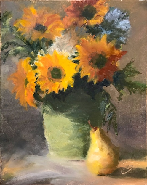 Oil painting of sunflowers bouquet, from photo reference provided by workshop instructor John Guernsey