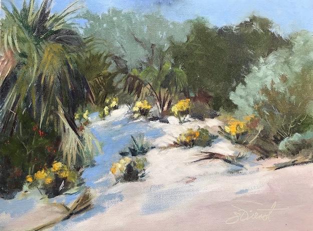 Oil painting of the dune scrub at Veteran's park on Okaloosa Island, Ft. Walton Beach, FL