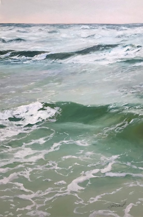 Oil painting of the waves at the shore of the Gulf of Mexico on a stormy day