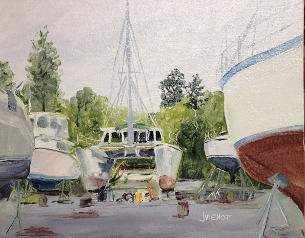 Oil Painting of Boats in a Boatyard, Freeport, FL