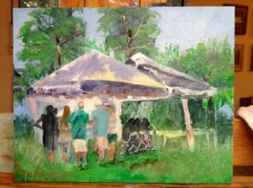 Unfinished oil painting of Workshops at ArtsQuest 2013