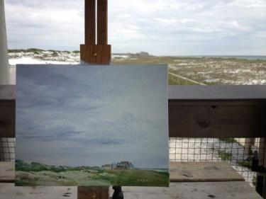 Photo of plein air painting in progress, Henderson Beach State Park