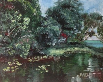 Oil painting of the pond by Clement Taylor Park, Destin, FL
