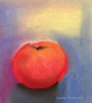 Pastel painting, Study of a Peach, by Leslie Kolovich